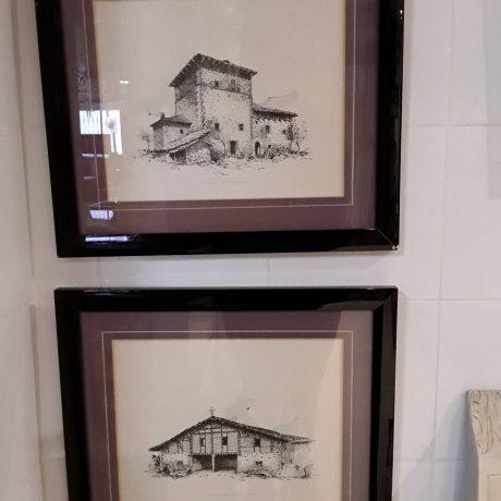 (33) (CK140233) Set Of Two Black And White Sketches.39cm x 33cm.30.00 euros.15.00 euros.(EACH).