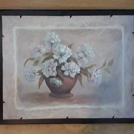 CK14086 Floral Print On A Wooden Plaque 64cm x 78cm.25.00 euros.