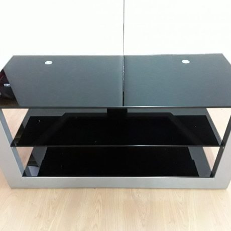 CK10002 Metal Framed Black Tinted Glass TV Unit.105cm Long 50cm High 45cm Wide 70.00 euros.